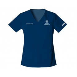 2968 - NAVY + SA Health Logo - In Stock - Flexibles V-Neck Knit Panel Top