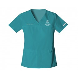 2968 - TEAL BLUE + SA Health Logo - In Stock - Flexibles V-Neck Knit Panel Top