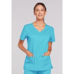 4727 - TURQUOISE + SA Health Logo - In Stock - V-Neck Top